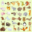 Cartoon animal set - Stock vektor