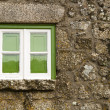 Stock Photo: Green window of an old house
