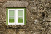 Green window of an old house — Stock Photo