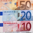Stock Photo: Row of Euro bills