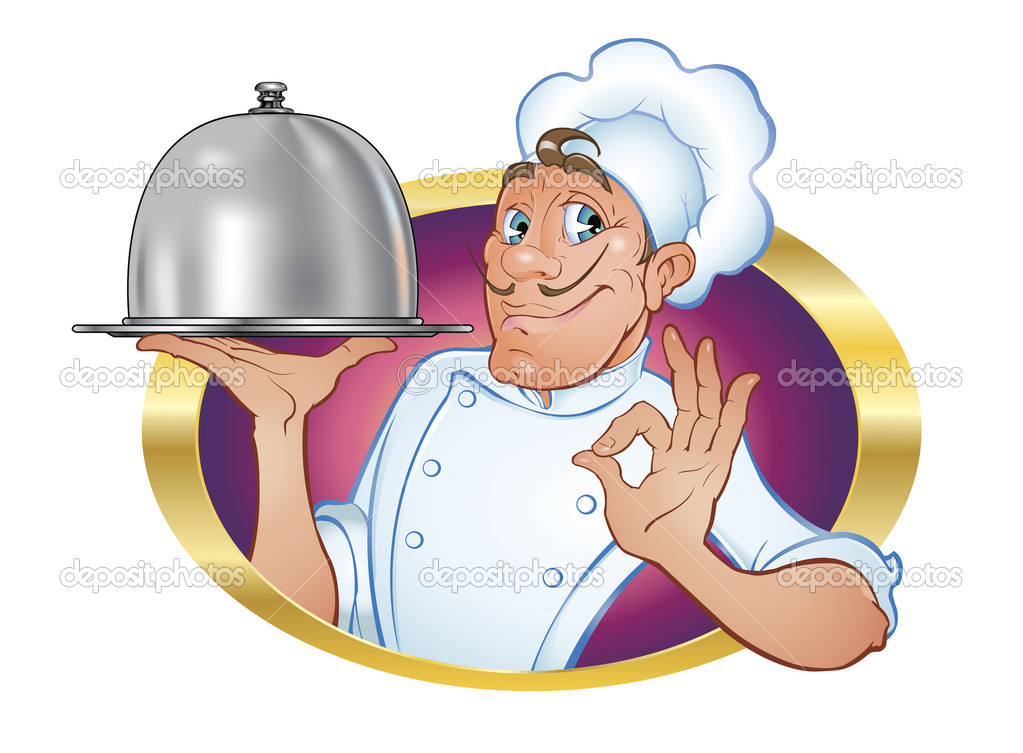 Vector illustration of a charming, cute chef with a friendly, engaging broadcast gesture of satisfaction and a tray — Stock Vector #5590252