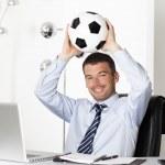 Footballer businessman — Stock Photo