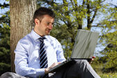 Outdoor laptop — Stockfoto