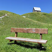 Alpine bench square — Stock Photo