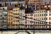 Lyon city and footbridge — Stock Photo
