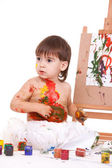 Funny child play with paints — Stock Photo