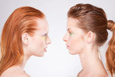 Profile of two red-haired woman — Stock Photo