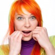 Surprised red hair woman with open mouth — Stock Photo