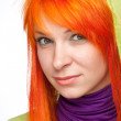 Curious smiling woman with red hair — Stock Photo