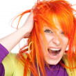 Shocked screaming young woman — Stock Photo