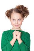 Curious deciding little girl — Stock Photo