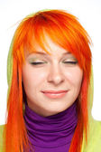 Dreamy happy red hair woman — Stock Photo