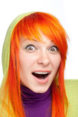 Surprised red hair woman with open mouth — Foto de Stock