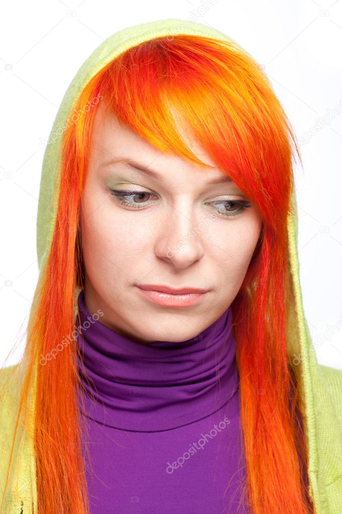 Upsed red hair woman looking down — Foto Stock #5868613
