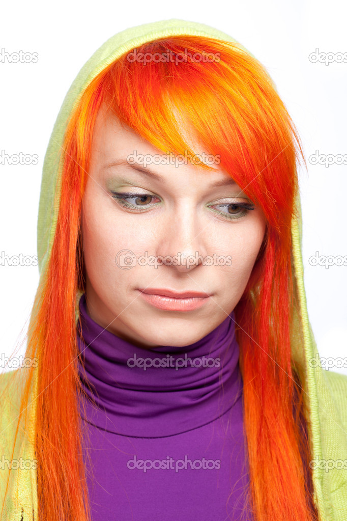 Upsed red hair woman looking down — Stock Photo #5868613