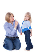 Mother teaching child — Stock Photo