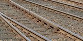 Railway railroad tracks — Stock Photo