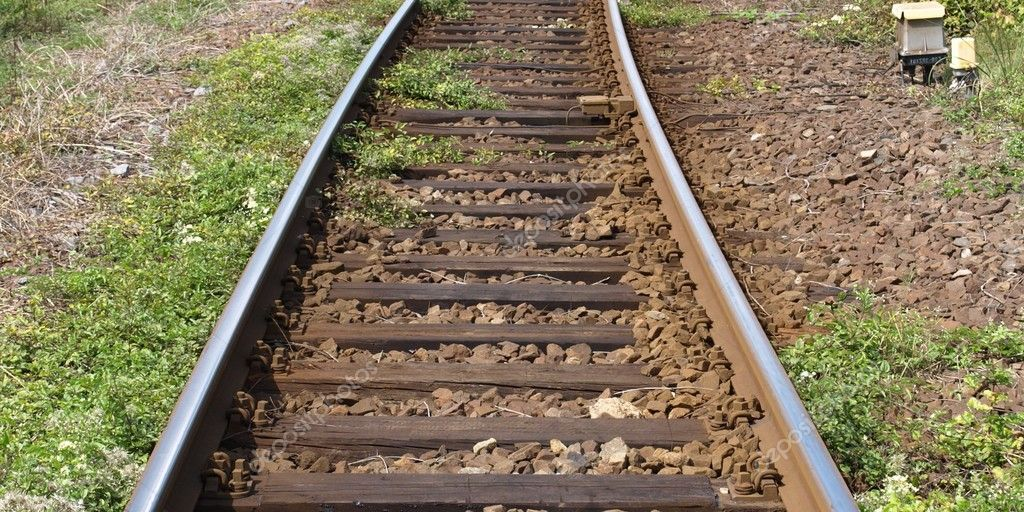 Detail of Railway railroad tracks for trains — Stock Photo #5948066
