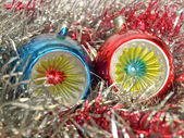 Christmas bauble and tinsel — Stock Photo