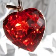 Ruby heart-shaped precious stone — Stock Photo