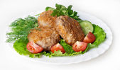 Meat rissoles with vegetables — Stock Photo