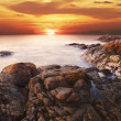 Rocky coast at sunset ( long exposure shot ) — Stock Photo