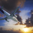 Stock Photo: Jet plane in flight at sunset time.
