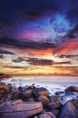Sunset over the tropical bay. Long exposure vertical shot. — Stock Photo