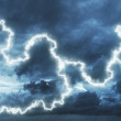 Dark stormy sky with a lightning and rain - Stock Photo