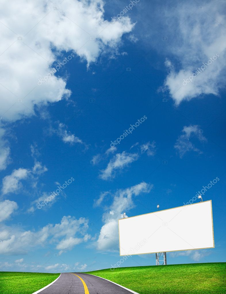 Highway and blank billboard. Vertical composition in high resolution. — Stock Photo #6643851