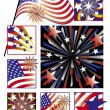 American Celebrations in Gradients — Stock Vector
