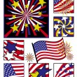 American Celebrations in Solid Colors — Stock Vector
