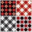 Argyle-Plaid Pattern in Red and Black - Stock Vector