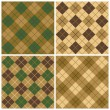 Argyle-Plaid Pattern in Green and Brown — Stock Vector