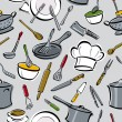 Stock Vector: Kitchen Tools Pattern