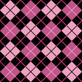 Argyle Pattern in Black and Pink — Stock Vector