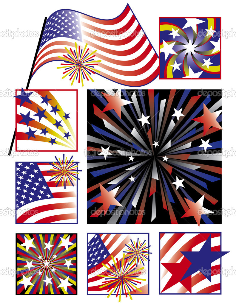 Vector collection of 8 designs celebrating America's birthday in gradients. — Stock Vector #5604933