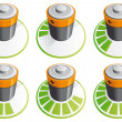 Battery charging icons — Stock Photo