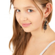 Portrait of funky young girl isolated over white background — Stock Photo
