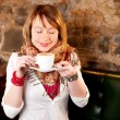 First capuccino - Beautiful young caucasian girl drinking coffee — Stock Photo #6086979