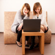 Closeup portrait of a happy young females enjoying using laptop — Stock Photo #6088726