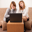 Closeup portrait of a happy young females enjoying using laptop — Stock Photo #6088753