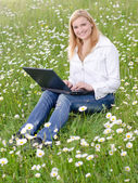 Girl with laptop on a grass field in park — Stock Photo