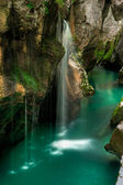 Small waterfal in Soca river valey Slovenia — Stock Photo