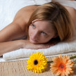 Beautiful young woman having a massage in wellness centre - girl - Foto Stock