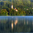 Church on the island - Lake bled in early morning - Stock Photo