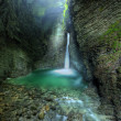 Stock Photo: Kozjak waterfall - 15m high cascade in cave in alps in western Sloveni- central europe