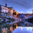 Bridge over soca river in slovenia at dusk — Stock Photo #6232430