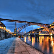 Stock Photo: Dom Luis Bridge illuminated at night. Oporto, Portugal western Europe