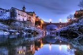 Bridge over soca river in slovenia at dusk — Stock Photo